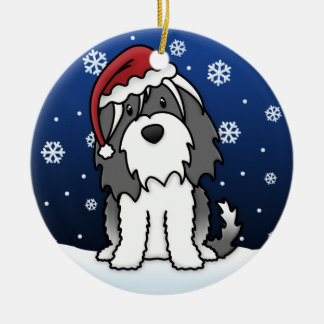Kawaii Cartoon Tibetan Terrier Christmas Ceramic Ornament