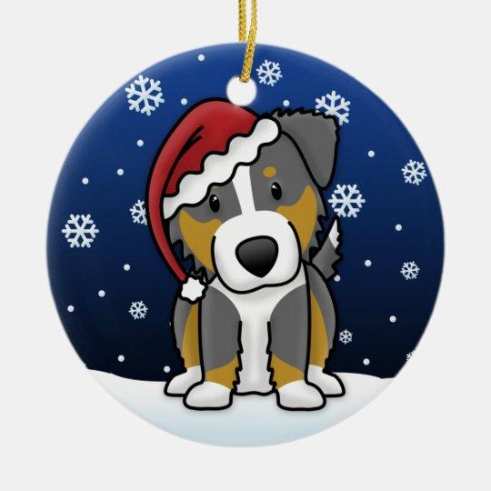 Australian Shepherd Christmas Ornament.Kawaii Cartoon Tri Australian Shepherd Christmas Ceramic Ornament