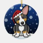 Kawaii Cartoon Tricolor Pembroke Welsh Corgi Christmas Ornaments