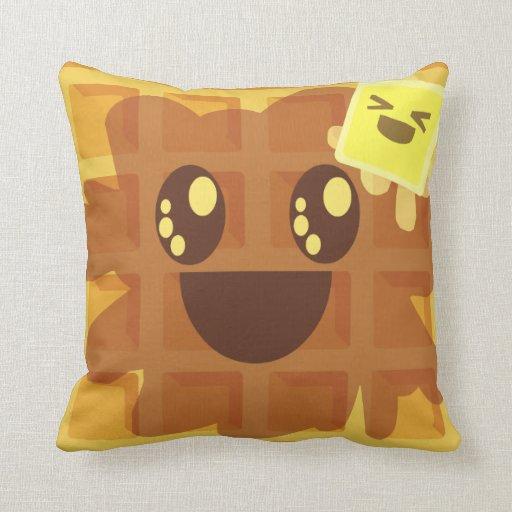 Kawaii Cartoon Waffle Butter Syrup Cute Breakfast Throw Pillows