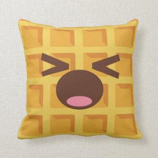 Kawaii Cartoon Waffle Sleeping Cute Breakfast Throw Pillow