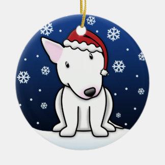 Kawaii Cartoon White Bull Terrier Christmas Ceramic Ornament