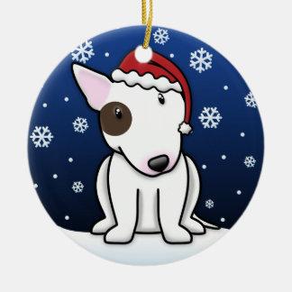 Kawaii Cartoon White Bull Terrier Christmas Double-Sided Ceramic Round Christmas Ornament