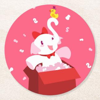 Kawaii Cartoon X-mas White Elephant Round Paper Coaster