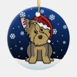 Kawaii Cartoon Yorkie Christmas Ornament