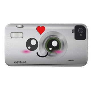 Kawaii/caso feliz lindo del iphone 4 de la cámara iPhone 4 Case-Mate protector