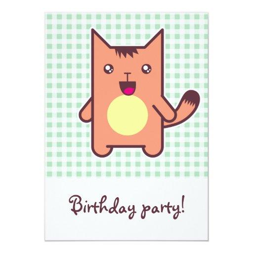 """Kawaii cat 5"""" x 7"""" invitation card"""