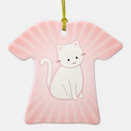 Kawaii Cat in Pink with Sunburst Christmas Tree Ornament