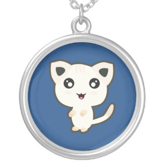 Kawaii Cat Round Pendant Necklace