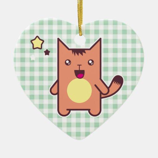 Kawaii cat Double-Sided heart ceramic christmas ornament