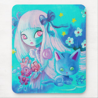 Kawaii Cat With Pink Haired Girl Mouse Pad