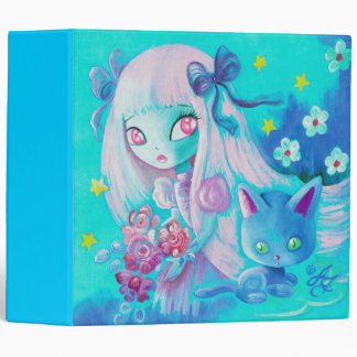 Kawaii Cat with Pink Haired Girl Vinyl Binder