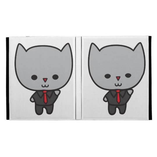 Kawaii Cat with Tie Caseable Case iPad Folio Cover