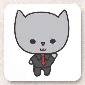 Kawaii Cat with Tie Cork Coaster