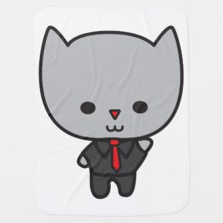 Kawaii Cat with Tie Receiving Blanket