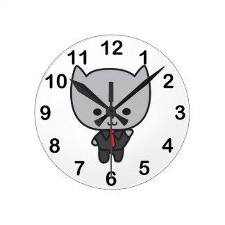 Kawaii Cat with Tie Round Clock