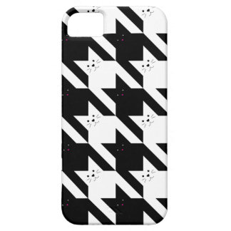 Kawaii Cats | Black and White Houndstooth Pattern iPhone SE/5/5s Case