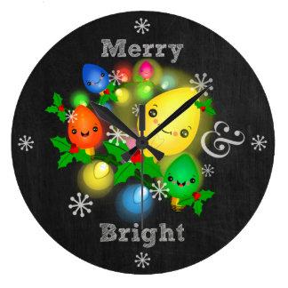 Kawaii Chalkboard Vintage Christmas Bulbs Clock