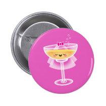 Kawaii Champagne Bride Pinback Button