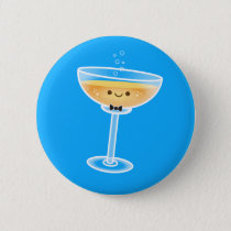 Kawaii Champagne Groom Pinback Button
