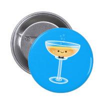 Kawaii Champagne Groom Pinback Button