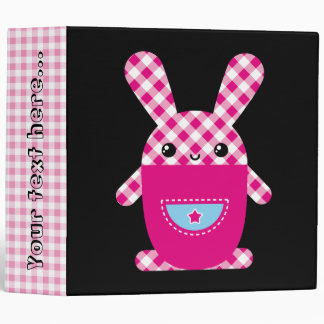Kawaii checkered rabbit 3 ring binder