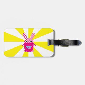 Kawaii checkered rabbit bag tag
