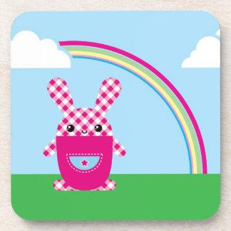 Kawaii checkered rabbit beverage coaster
