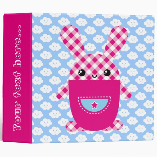 Kawaii checkered rabbit binder