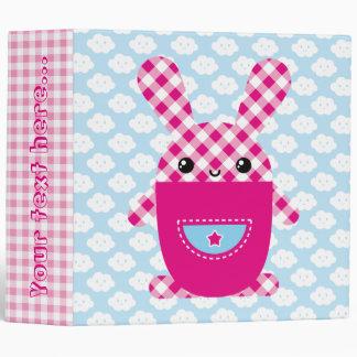 Kawaii checkered rabbit vinyl binders