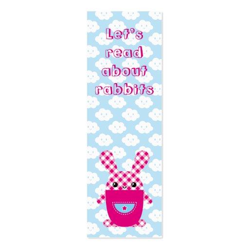 Kawaii checkered rabbit bookmark mini business card