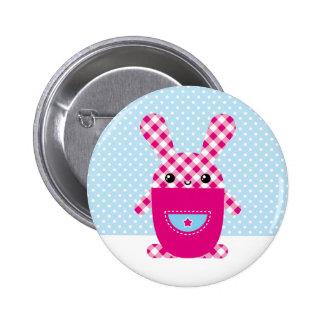 Kawaii checkered rabbit button