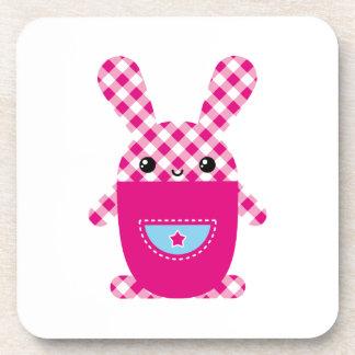 Kawaii checkered rabbit coaster