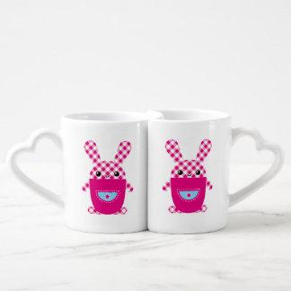 Kawaii checkered rabbit coffee mug set
