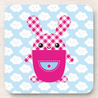 Kawaii checkered rabbit drink coaster