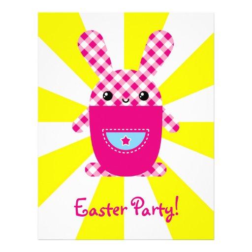 Kawaii checkered rabbit flyer design