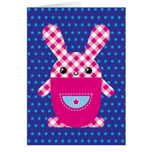 Kawaii checkered rabbit greeting card