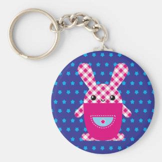 Kawaii checkered rabbit key chain
