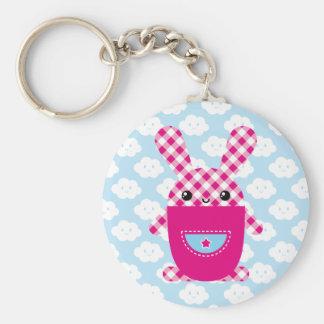 Kawaii checkered rabbit keychain