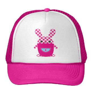 Kawaii checkered rabbit mesh hat