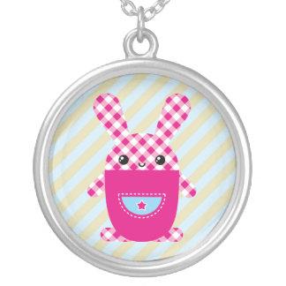 Kawaii checkered rabbit necklace