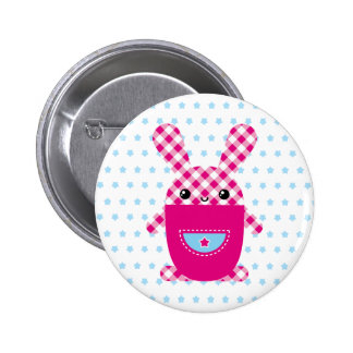 Kawaii checkered rabbit pinback button