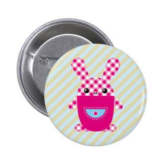 Kawaii checkered rabbit pinback buttons