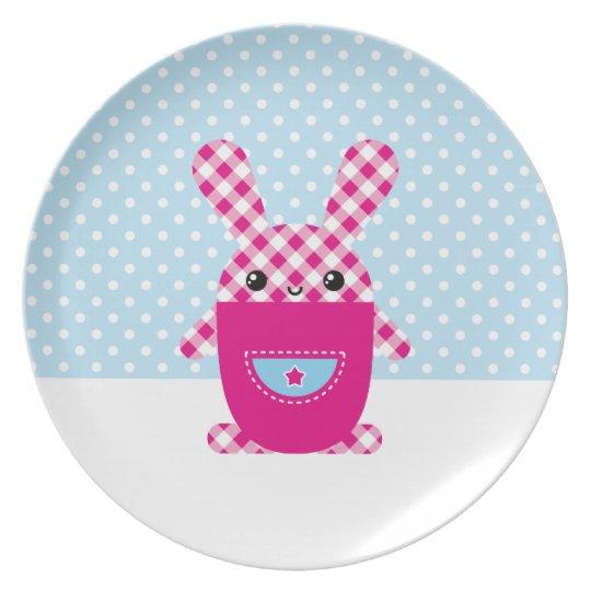 Kawaii checkered rabbit plate