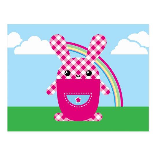 Kawaii checkered rabbit postcard