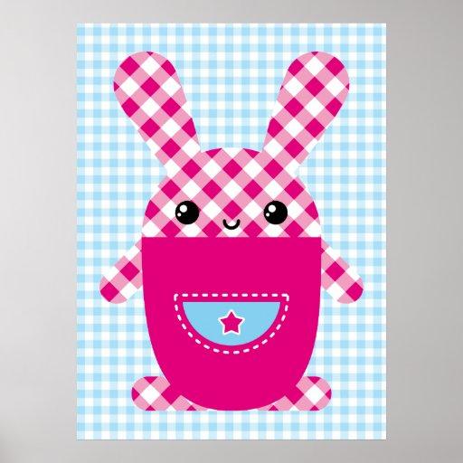 Kawaii checkered rabbit poster