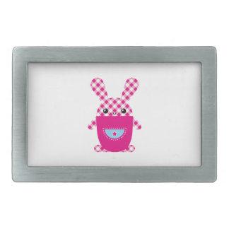 Kawaii checkered rabbit rectangular belt buckle