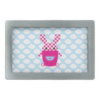 Kawaii checkered rabbit rectangular belt buckles