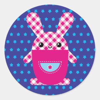 Kawaii checkered rabbit round sticker