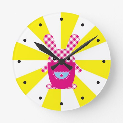 Kawaii checkered rabbit round wallclocks